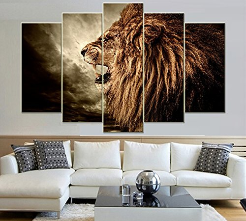 IDECAL 5Piece Roaring Lion Canvas Print Wall Art Painting Pictures No Frame 30 x 60cm x 2Piece  30 x 75cm x 2Piece  30 x 90cm x 1Piece