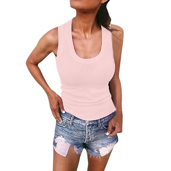 Wihoo - Camiseta de tirantes para mujer, sexy, cuello en U, sin ...