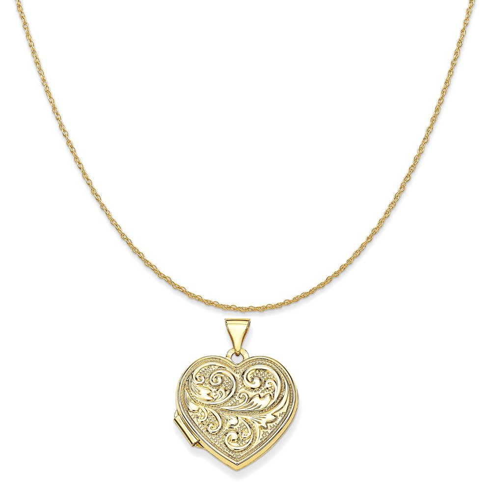14k Yellow Gold Scrolled ''Love You Always'' Heart Locket Pendant on a Rope Chain Necklace, 20''