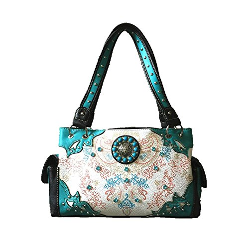 UPC 637813526924, Stylish Concealed Carry Rhinestone Concho Colorful Flower Shoulder Handbag Purse and Optional Matching Wallet in 4 Colors. Blue