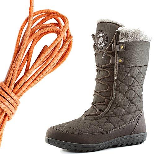 Dailyshoes Confort Des Femmes Bout Rond Mi-mollet Cheville Plat Haute Eskimo Fourrure Dhiver Bottes De Neige, Orange Marron