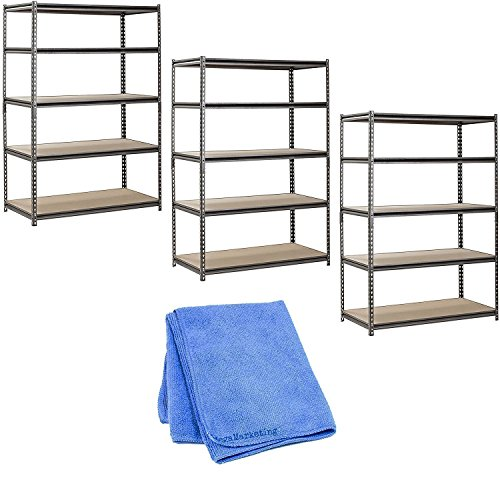 Muscle Rack UR482472PB5PAZ-SV Silver Vein Steel Storage Rack, 5 Adjustable Shelves, 4000 lb. Capacity, 72'' Height x 48'' Width x 24'' Depth (3-Pack) with Cleaner Cloth by Muscle Rack