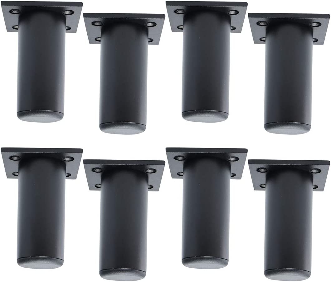 uxcell 3 Inch Round Furniture Legs Aluminium Alloy Sofa Couch Cabinet Wardrobe Worktop Shelves Feet Replacement Height Adjuster Black Set of 8