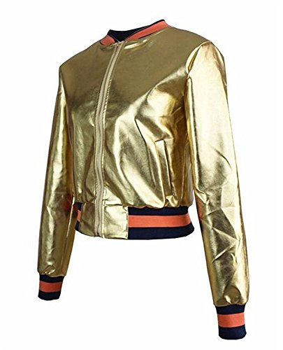 Toping Fine Fashion Womens Stand Collar Zip-Up Slim Baseball Bomber Jacket Coat GoldenUS-L by Toping Fine wool-outerwear-coats