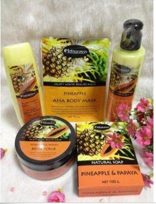 Set x 5Pcs Nongnaka Fruity White Beauty Pineapple & Papaya AHA Body Whitening by LITTLE BEE 2017 by Nongnaka