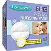 Lansinoh Stay Dry Nursing Pads Medium 36 Each ( Pack of 2)