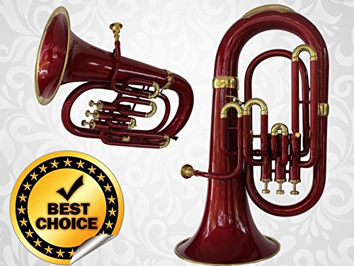 Euphonium 3V 100% Brass Red Bb FLAT ''SAI''M/ P & Bag Free by SAI MUSICAL