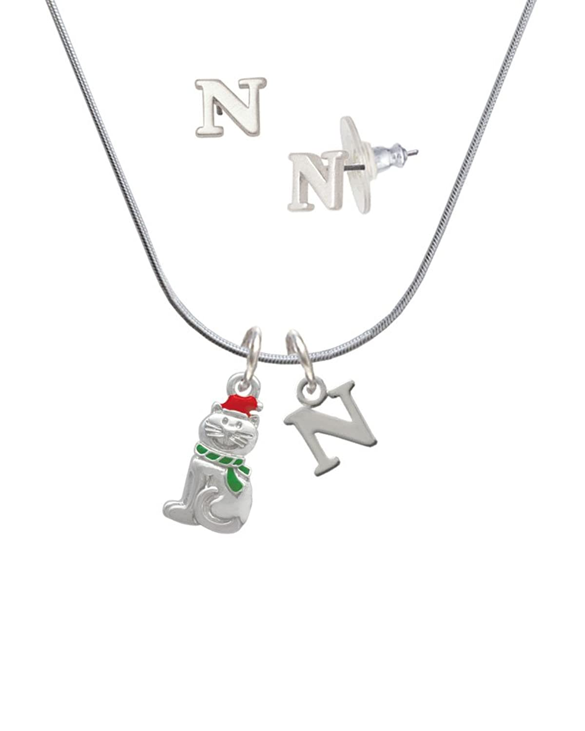 2-D Christmas Cat with Red Hat - N Initial Charm Necklace and Stud Earrings Jewelry Set