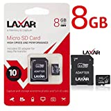 LAXTEK Ultra 8GB Micro SD TF Memory Card Class 6/10 with Micro SD to SD Adapter High Performance SD Card - Full HD & 4K Photos & Video Storage (8GB)