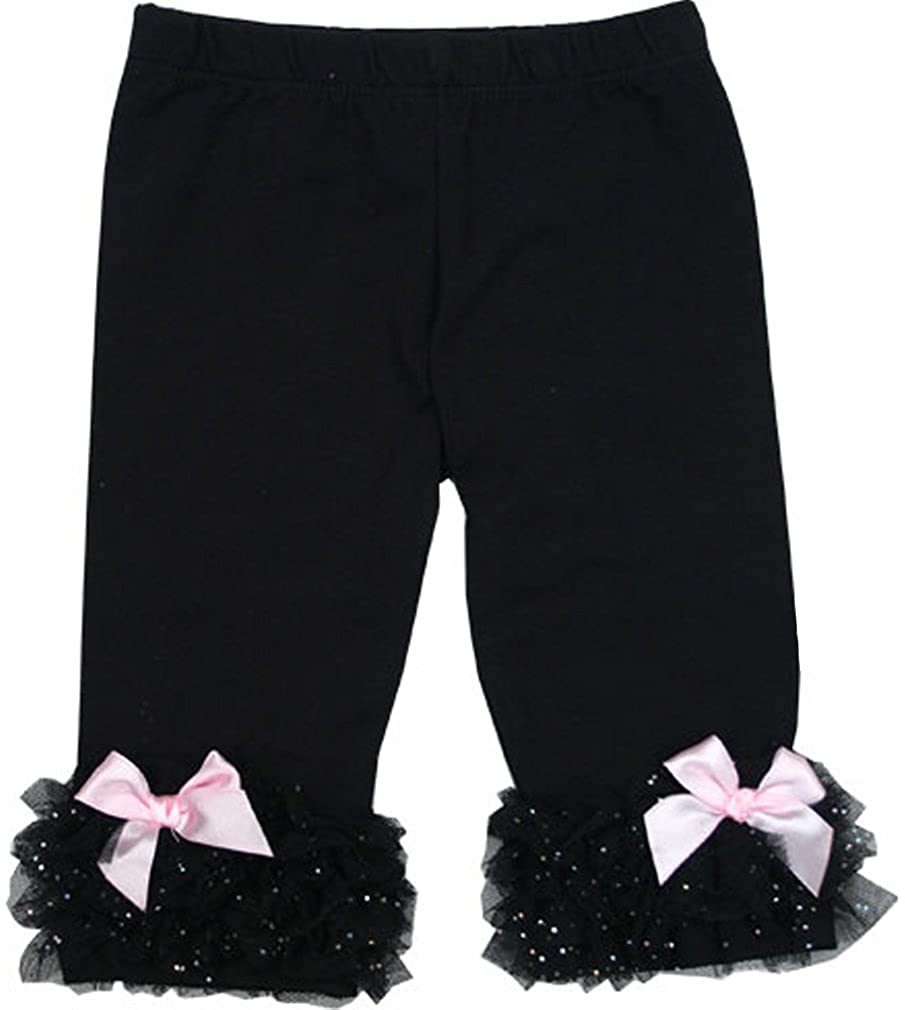 Black Ruffle Cuff Pant w//Pink Ankle Bows Little Girls XS 2Y