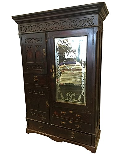 Mogul British Colonial Armoires Hand Carved Teak Mirror Vintage Cabinet Rustic Indian ()