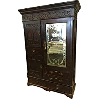 Mogul British Colonial Armoires Hand Carved Teak Mirror Vintage Cabinet Rustic Indian Furniture