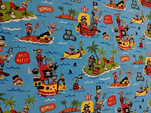 - Pirate's Life - Main Blue - Riley Blake Cotton Fabric
