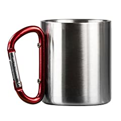 Camp checklist: flashlight, tent & cool mug to drink your beverages in..check. This double walled stainless steel mug has a fun & functional carabiner handle which can easily attach to a backpack or gear bag. Stay hydrated, look good ...