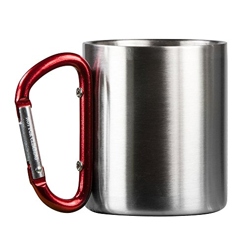 Life Gear Stainless Steel Double Walled Mug with Carabiner Handle – Portable Rockclimbing, Hiking, Backpacking or Camping Travel Cup 10 oz