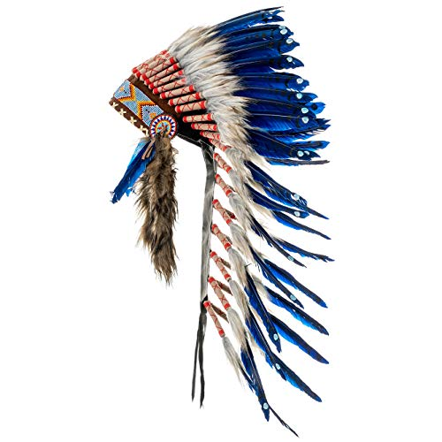 Novum Crafts Feather Headdress | Native American Indian Inspired | Blue (Feathers Costume Indian)