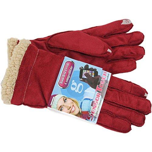 Grandoe Women's Red Cozy Lamb Suede Sensor-Touch Texting Gloves (Lamb Suede)