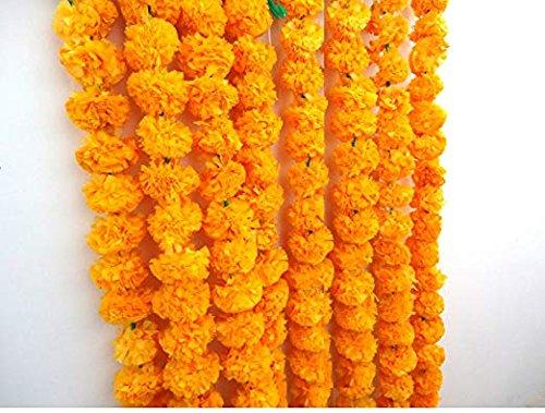 Diwali 5/pezzi artificiale arancione scuro calendula fiore ghirlande 1,5/m a lungo per l uso in feste Ganesh Fest eventi decorazioni a tema indiano foto Prop indiano matrimoni riscaldamento