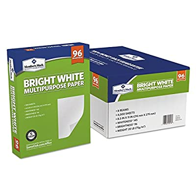 Multipurpose Paper by Member's Mark Bright White with 96 Brightness, 8.5 x 11, 8 Reams, Great for Home or Office