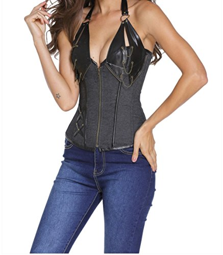 Christmas PEGGYNCO Womens Denim 14 Steel Bone Steampunk Leather Corset with Thong Size S