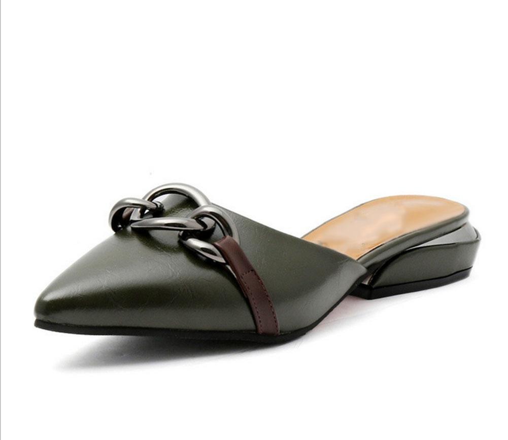Baotou hembra silvestre señaló zapatos planos de las sandalias