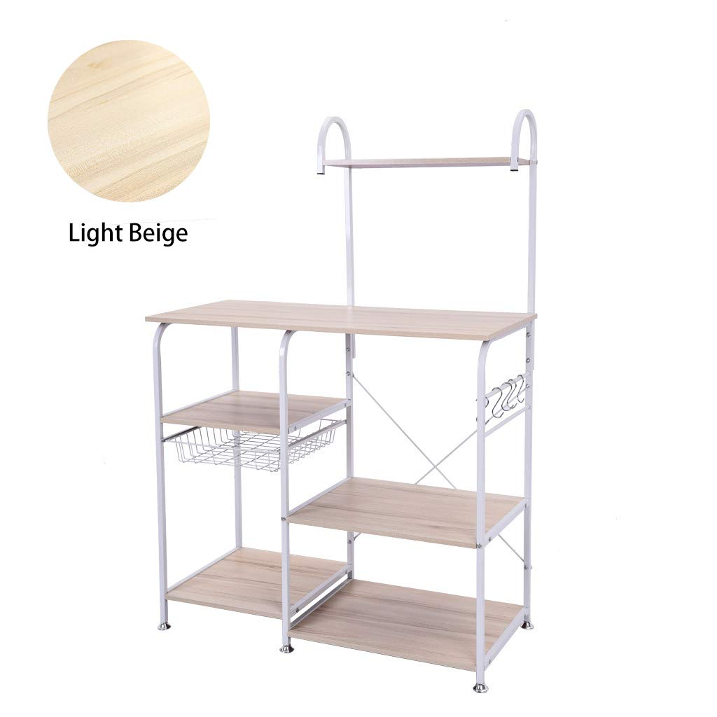 YoHomie Home Kitchen Microwave Cart Stand, Baker's Rack/Spices Storage Shelf  3-Tier+4-Tier Utility Organizer Workstation  Rolling Cart with 5 Hanging Hooks (White)