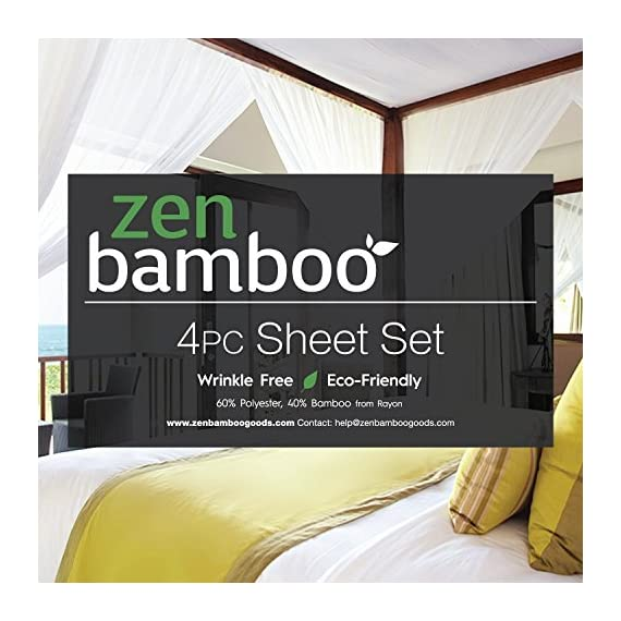 Zen Bamboo 1800 Series Luxury Bed Sheets - Eco-Friendly, Hypoallergenic and Wrinkle Resistant Rayon Derived from Bamboo - 4-Piece - Queen - White - LUXURY & COMFORT - Slip into comfort! The Zen Bamboo 4-Piece Bamboo Blend Sheet Set is exactly what you need for a comfortable and relaxing night's sleep. Our sheet set is not only ultra-soft and luxurious, but stylish as well. With a wide range of colors to choose from, there's something for everyone! HIGH QUALITY BRUSHED BAMBOO & MICROFIBER BLEND - Our sheets are crafted with the highest quality materials, making them comfortable and durable! Designed with a sumptuous blend of 40% rayon derived from bamboo and 60% brushed microfiber, our sheets are incredibly plush and more durable than standard cotton sheets. HYPOALLERGENIC & STAIN RESISTANT - Our sheets are hypoallergenic, stain resistant, fade resistant, and wrinkle resistant. Say goodbye to dust mites, wrinkles, and tedious tasks like ironing, and hello to cozy, soft, and comfortable bedding! - sheet-sets, bedroom-sheets-comforters, bedroom - 51Rtic%2B8U7L. SS570  -