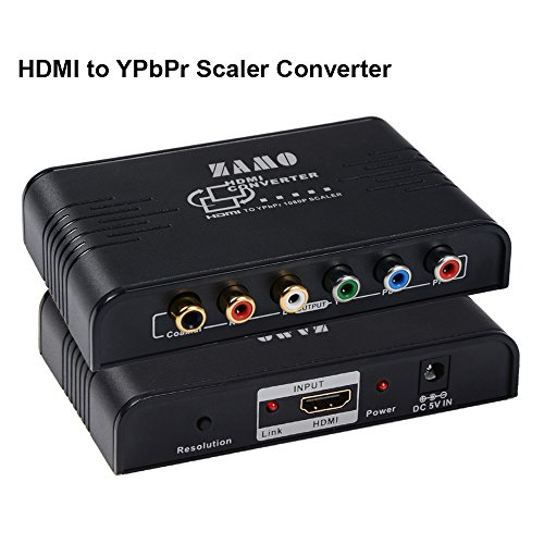 HDMI To Component Converter ,ZAMO 1080P HDMI to YPbPr Component RGB Scaler Converter Supporting Coaxial & R/L Audio Output-With Scaler Function (Coaxial Rgb Connectors)