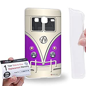 Case88 [Samsung Z3 Sm-Z300h] Gel TPU Carcasa/Funda & Tarjeta de garantía - Art Fashion Purple Retro Bus Mini Van Art1203