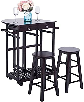 Breakfast Cart With 2 Stools,JULYFOX Drop Leaf Kitchen Island With Seating  Chairs Wheels Storage Drawers Tower Rack Counter Height Tall Pub Bar Table  ...