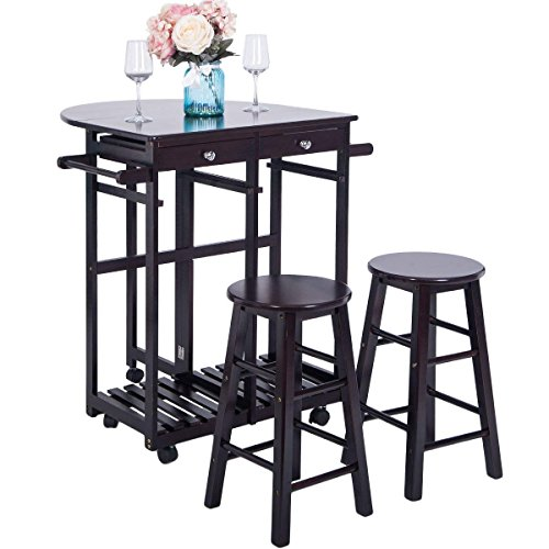 Breakfast Cart With 2 Stools,JULYFOX Drop Leaf Kitchen Island With Seating Chairs Wheels Storage Drawers Tower Rack Counter Height Tall Pub Bar Table Set 3 Piece Espresso For Small Spaces - Oak Set Kitchen Island