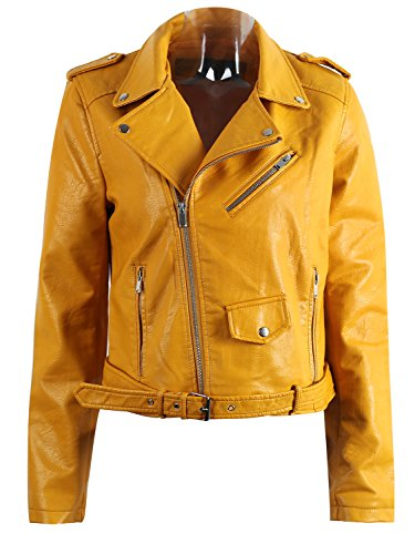 Short Zipper Fitted Yellow Hooded Biker Jackets Style Leather Apparel Women's Coat Simplee Outwear Uwn1q8xBI