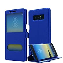 Galaxy Note 8 Case, AICase [ Window View ] PU Leather Magnetic Closure Flip View Case Folio Stand Cover for Samsung Galaxy Note 8 (Blue)