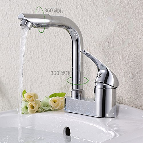 C Without Tube von YIRUI basin Taps Hot and cold double hole basin faucet washbasin Dragon kitchen dish basin faucet universal redary table basin Faucet,A dual-head tube 50CM2
