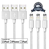 iPhone Cable, CBoner Lightning Cable 3Pack 6FT Nylon Braided iPhone Cord to USB Charging Charger for iPhone 7/7 Plus/6/6 Plus/6S/6S Plus,SE/5S/5,iPad,iPod Nano 7 (Gray&White)