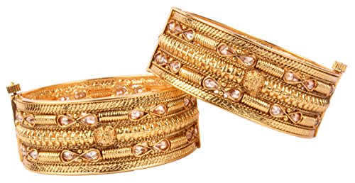 Bollywood Fashion Awesome Gold Tone Indian Polki Bangle Ethnic Traditional Jewelry