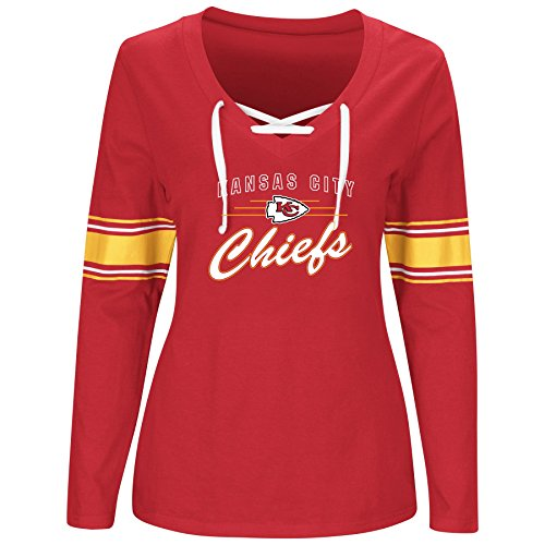 Chief Jersey (NFL Kansas City Chiefs Women L/S JERSEY  V NECK TEE, RED/WHITE, 2X)