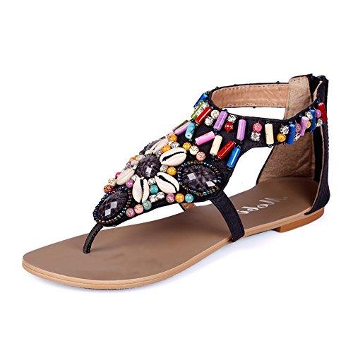 Sandalias Planas Bohemia De Mujer Zapatos Con Cremallera Sandalias De Playa Clip Toe Verano Roman T-Correa Negro