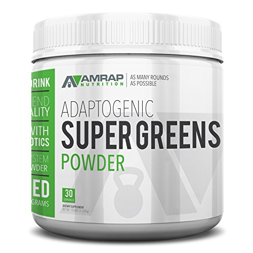Alkalizing Powder (AMRAP Nutrition Organic Supergreens Powder - Blend of 11 Super Green Juices to Increase Stamina, Strengthen Immune System and Maintain Healthy PH Levels - Rich in Micronutrients)