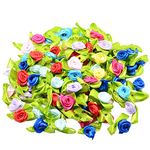 Buds Bow (MonkeyJack 100 Pieces 15mm/0.59'' Flower Satin Ribbon Rose Buds Leaf Wedding Home Decor DIY Hairband Bow Sewing Crafts)