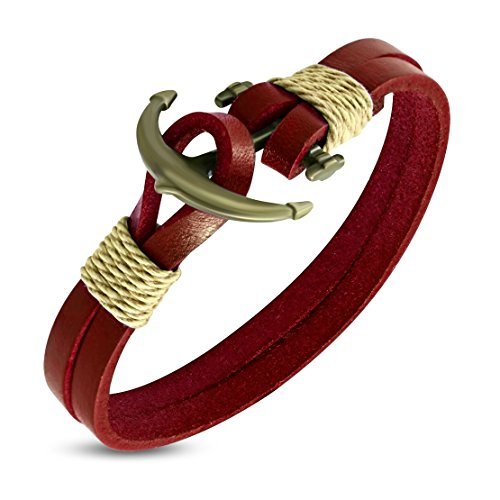 - Double Strand Red Leather Marine Anchor Toggle Bracelet Length: 8.4