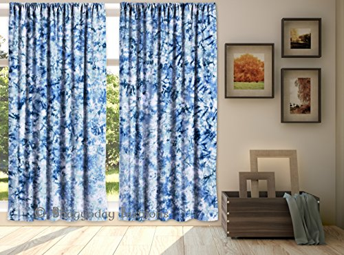 Indian Shibori Tie Dye Print Curtains 2 PC Set Window Door Hanging Valances Hippie Bohemian Wall Decor Room Divider Cotton Handmade 84 x 80 By Shree …