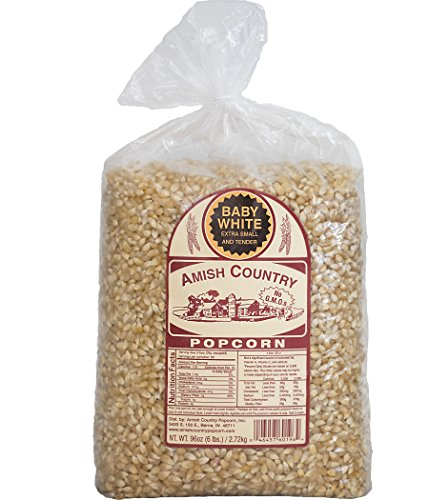 Amish Country Popcorn  Baby White Extra Small And Tender Popcorn  Old Fashioned And Non Gmo   6 Lb Bag With Recipe Guide And 1 Year Freshness Guarantee