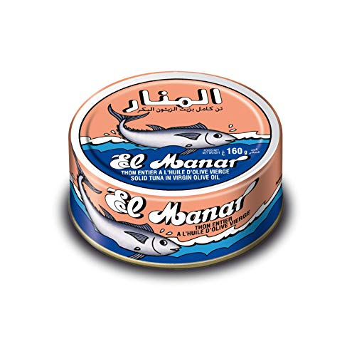 Solid Tuna in Virgin Olive Oil - Canned Tuna Fish in Cold Pressed Tunisian Olive Oli - 10-Pack of 160g Cans