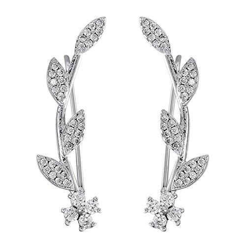 Ear Crawler Earrings for Women Ear Climber Cuff Earrings Silver Leaf CZ ()