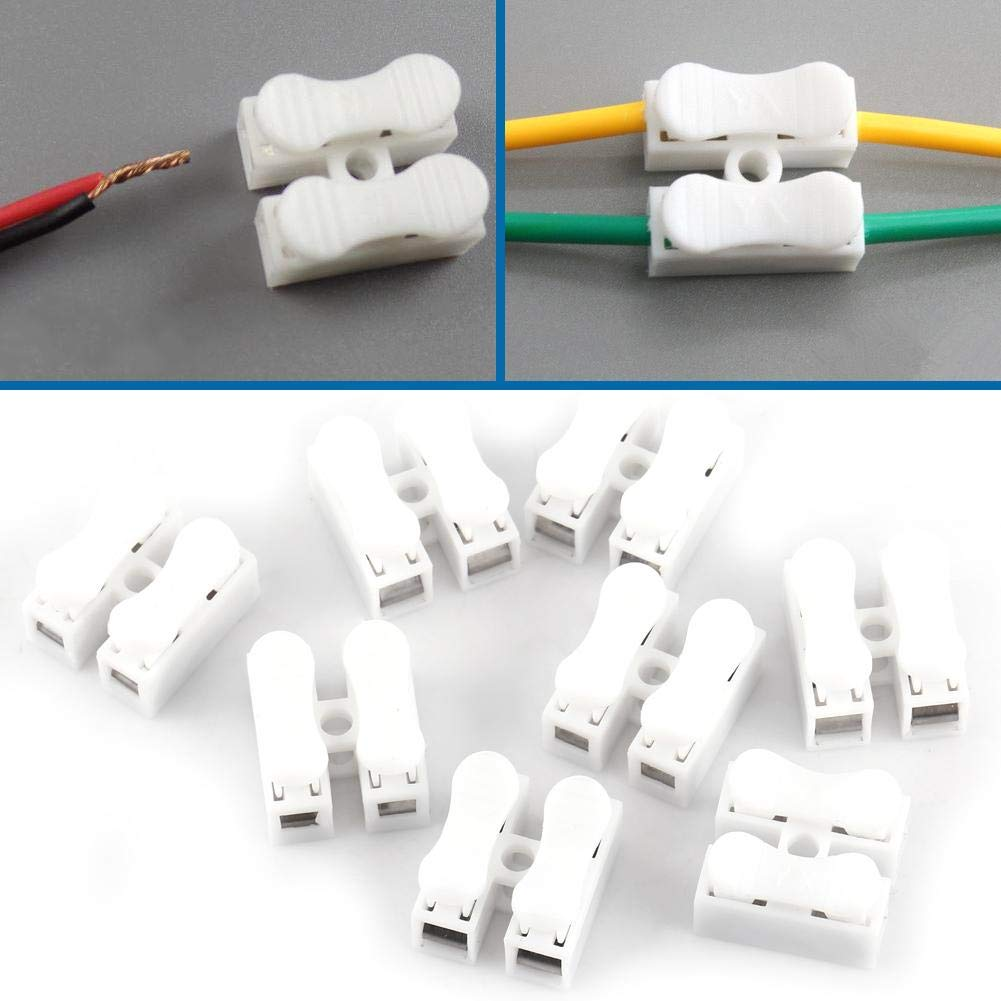 Household Appliances Electrical Control 100Pcs 2 Pin Quick Connector Wire Connector Screw Terminal Barrier Block Push Quick Splice Wire Connector for LED Strip Light Connectors