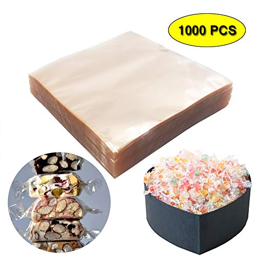 Clear Caramel Candy and Chocolate Wrappers - (1000 Square Sheets) Natural Cellophane Wrappers Non-stick 5x5 ()