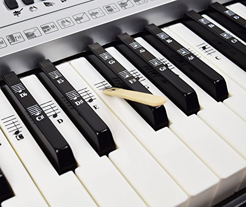 Piano and Keyboard Music Note Full Set Stickers for White and Black Keys with Piano Songs EBook; Transparent and Removable! Made in USA by QMG (Image #2)
