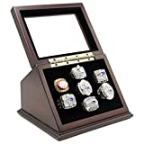 Championship Rings Display Case Box with 7 Holes and Slanted Glass Window for Any Championship Rings -Rings are Not Included