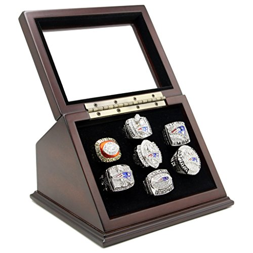 (Championship Rings Display Case Box with 7 Holes and Slanted Glass Window for any Championship Rings -Rings Are Not Included)
